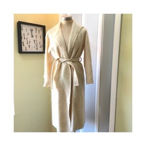 Vintage Cream Mohair Bullocks Wrap/ Tie Coat